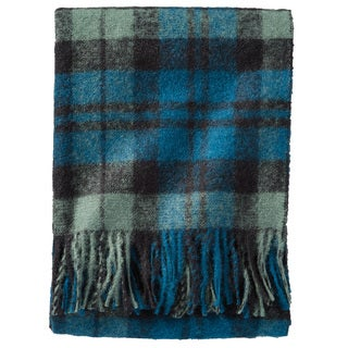 Pendleton Boucle Black Watch Blue Plaid Wool Throw