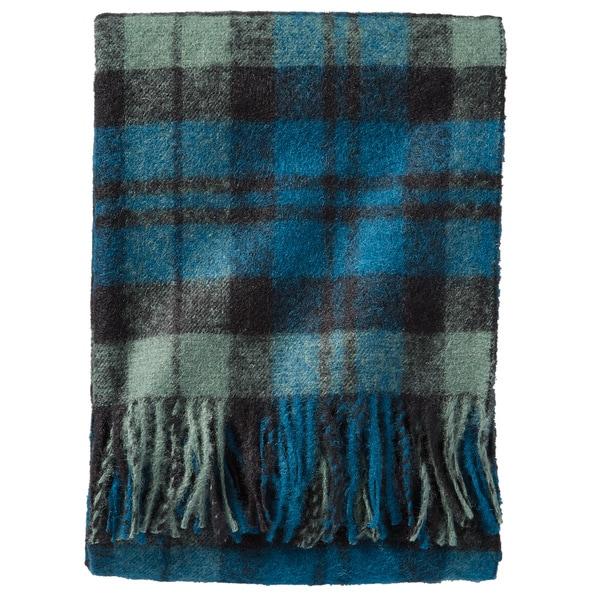 Pendleton Boucle Black Watch Blue Plaid Wool Throw