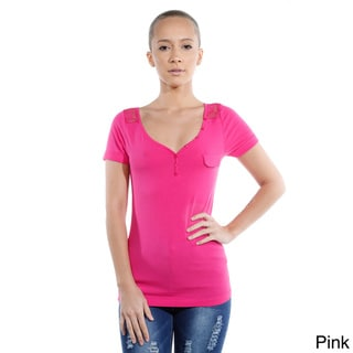 Women's Solid Lace-back Short-sleeve Top