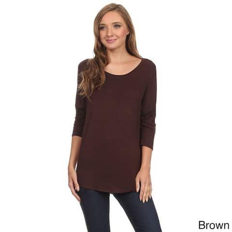 Women's Rayon and Spandex Dolman Sleeve Tunic