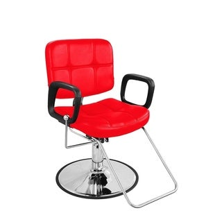 BarberPub Classic Hydraulic Red Hair Salon Chair