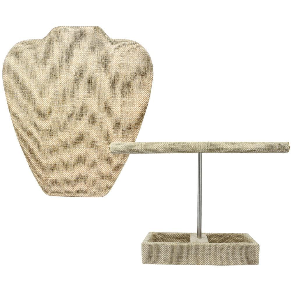 Ikee Design Linen T-bar Jewelry Stand Hanger Organizer an...