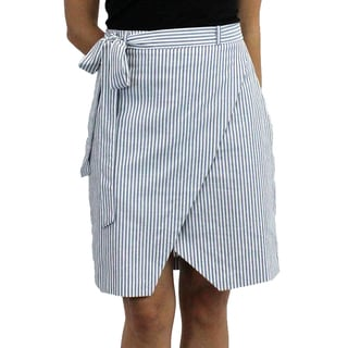 Relished Women's Blue Cotton Striped Envelope Skirt