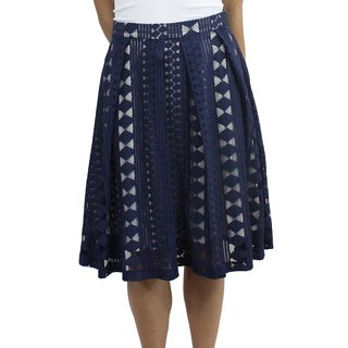 Relished Women's Navy-blue Cotton Lace Skirt