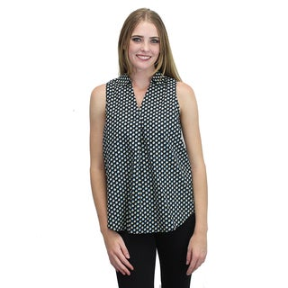 Relished Women's Navy Print Sleeveless Collared Top