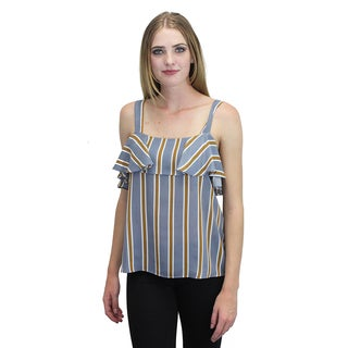 Relished Women's Blue Striped Ruffle Top