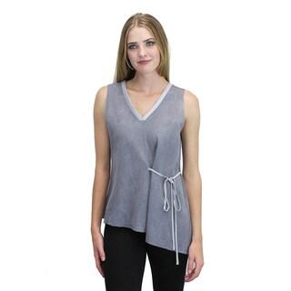 Relished Women's Sheer Blue-grey Sleeveless Leaf Print Top
