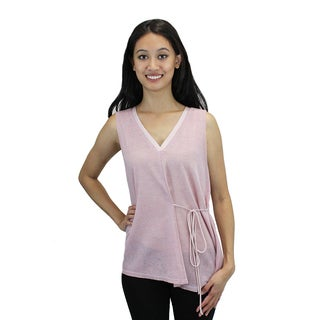 Relished Women's Pink Sheer Sleeveless Leaf-print Top