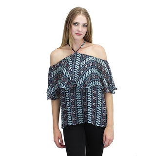 Relished Women's Off-the-Shoulder Halter Print Top