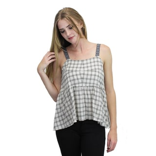 Relished Women's Ivory Cotton Plaid Peplum Top