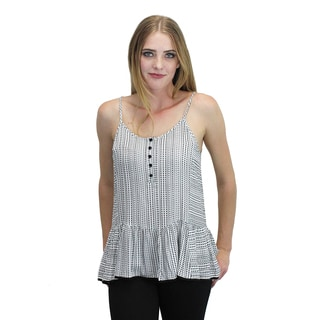 Relished Women's Black and White Print Peplum Top