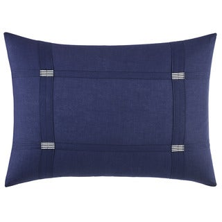 Vera Wang Chevron Blue Cotton Blend Breakfast Pillow