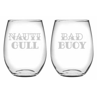 Nauti Gull & Bad Buoy Stemless Wine (Set of 2)