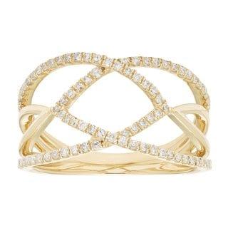 10k Gold 1/3ct TDW Crossover Diamond Ring