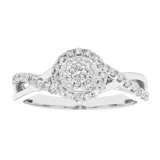 10k Gold 1/3ct TDW Composite Halo Diamond Engagement Ring