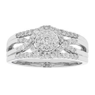 10k Gold 1/3ct TDW Composite Halo 3-band Diamond Engagement Ring (H-I, I1-I2)