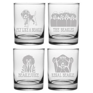 Beagle Assortment Rocks Glass (Set of 4)