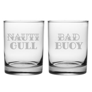 Nauti Gull & Bad Buoy Rocks Glass (Set of 2)