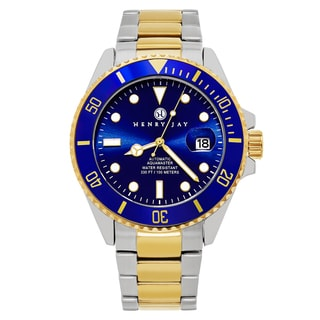 Henry Jay Mens Limited Edition Mechanical Automatic 23k Gold Plated Two-tone Stainless Steel Professional Dive Watch