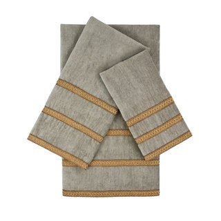 Sherry Kline Triple Row Gimp Grey 3-piece Embellished Towel Set