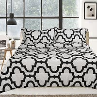 Lauren Taylor Aline Black and White 3-piece Comforter Set