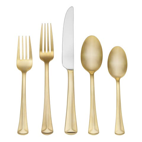 Reed & Barton Baguette Matte Gold-plated Stainless Steel Place Setting (Pack of 5)