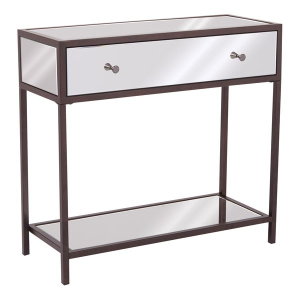 Contemporary glam mirrored marquis entryway console table free shipping today - Mirrored console table overstock ...