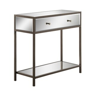 Contemporary Glam Mirrored Marquis Entryway Console Table