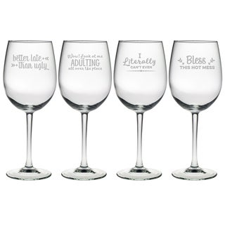 Boozily Honest Assortment Wine Glass (Set of 4)