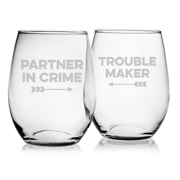 Partner in Crime Stemless Wine (Set of 2)