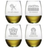 Beagle Assortment Stemless Wine (Set of 4)