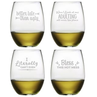 Boozily Honest Assortment Stemless Wine (Set of 4)