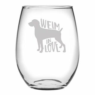 Weim In Love Stemless Wine (Set of 4)
