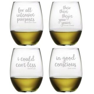 Grammar Police Assortment Stemless Wine (Set of 4)