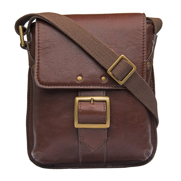 Hidesign Vespucci Brown Leather Small Crossbody Messenger Bag. Opens flyout.