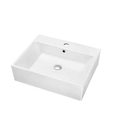 Dawn® Vessel Above-Counter Rectangle Ceramic Art Basin with Single Hole for Faucet and Overflow