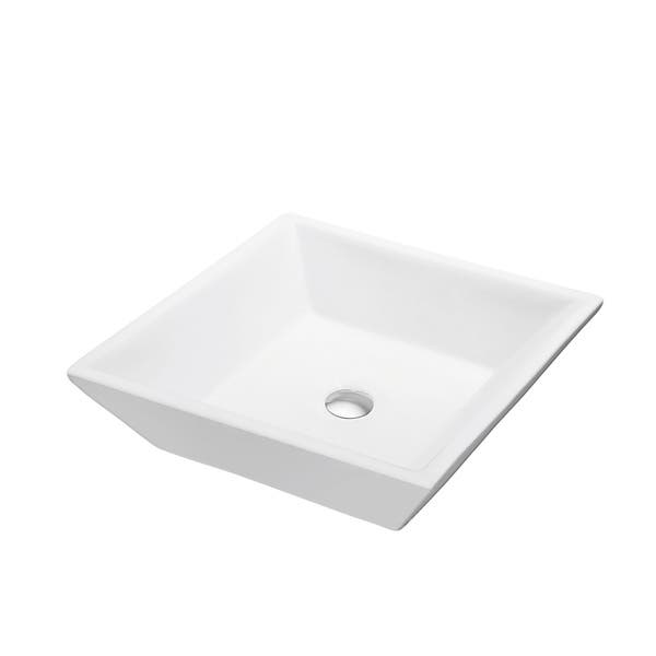 Dawn Art White Ceramic Above-counter Square Vessel Bathroom Sink