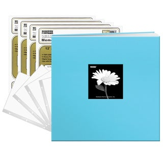 Pioneer Turquoise Blue Fabric 12x12 Frame Cover Post-bound 40 Pages (20 Sheets) Scrapbook