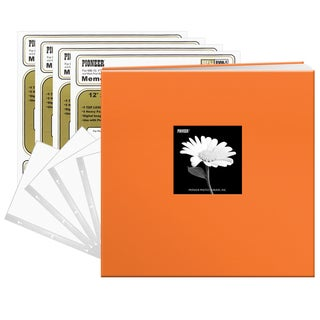 Pioneer 12x12 40-pages Tangerine Orange Fabric Frame Cover Post Bound Scrapbook