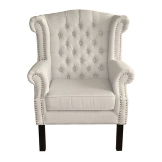 HomePop Cream Tufted Wingback Chair
