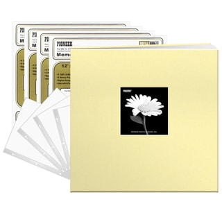Pioneer Soft Yellow Fabric 12x12 Frame Cover Post-bound 40 Pages (20 Sheets) Scrapbook