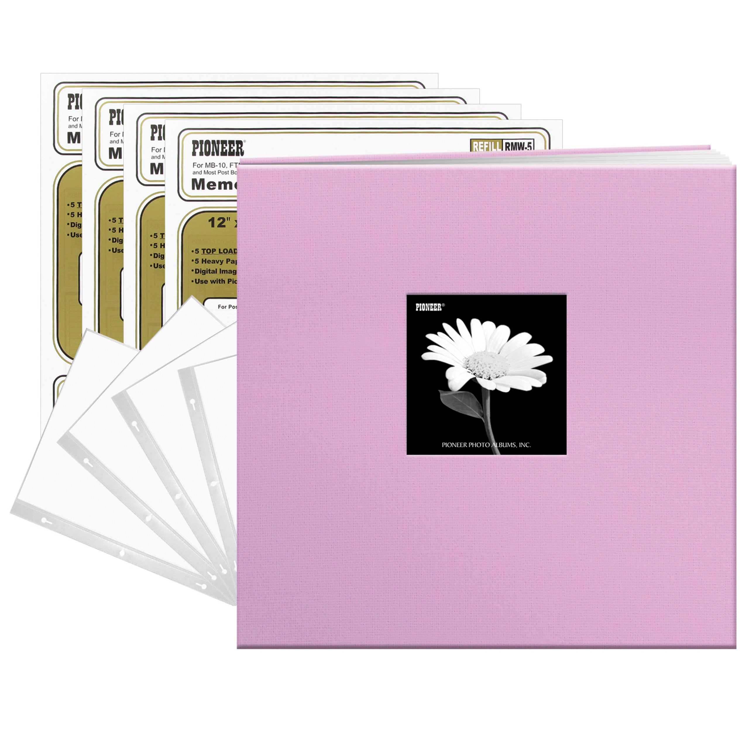 Pioneer 8-Inch by 8-Inch Postbound Fabric Frame Cover Memory Book Misty Lilac