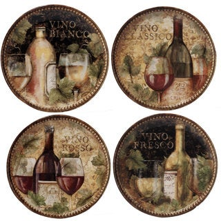 Certified International Gilded Wine Assorted Ceramic 9-inch Salad/Dessert Plates (Pack of 4)