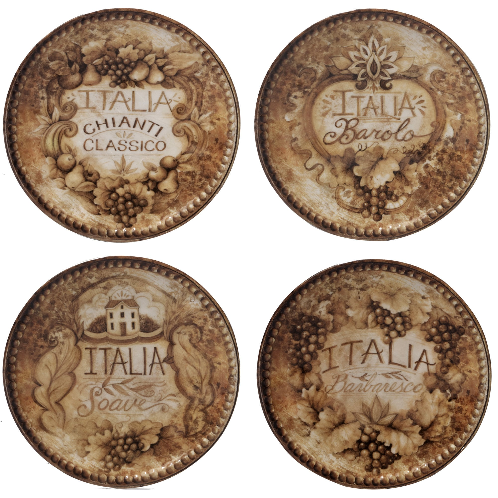 Certified Intl Gilded Wine Assorted 6-inch Canape Plates ...