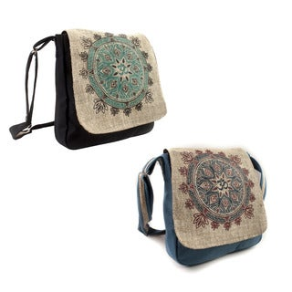 Handmade Mandala of Om' Hemp Blend Crossbody Bag (Nepal)