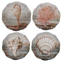 Certified International Coastal View Ceramic 9-inch Salad/Dessert Assorted Design Plates (Pack of 4)