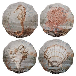 Certified International Coastal View Ceramic 9-inch Salad/Dessert Assorted Design Plates (Pack of 4)