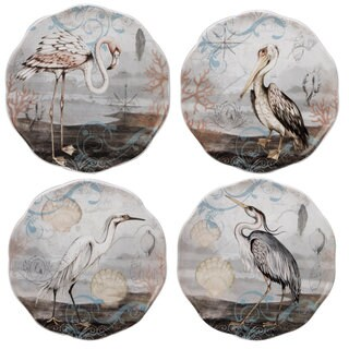 Certified International Coastal View Ceramic 6-inch Assorted Canape Plates (Pack of 4)