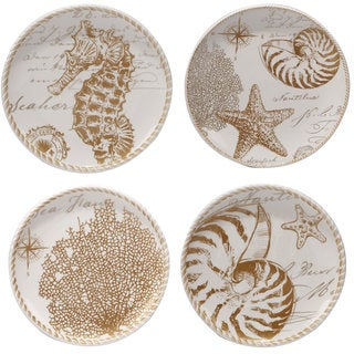 Certified International Coastal Discoveries White/ Tan Ceramic Assorted Dessert Plates (Set of 4)
