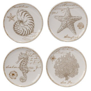 Certified International Coastal Discoveries Ceramic 6-inch Canape Plates (Pack of 4 Assorted Designs)